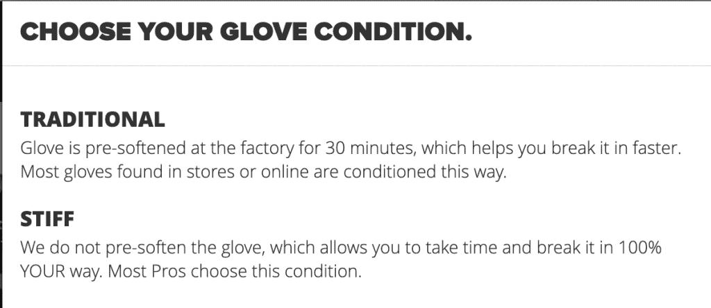 wilson baseball glove stiffness